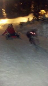 V and Sonya sledding